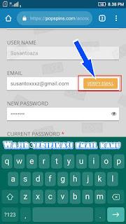 Verifikasi email PopSpins