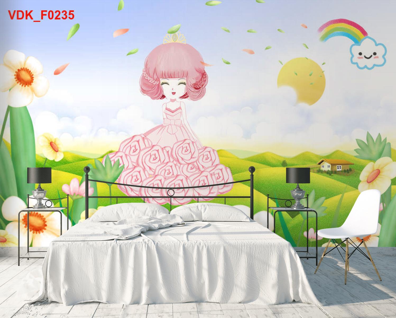 Tranh Dán Tường Phòng Ngủ Bé Gái Đẹp