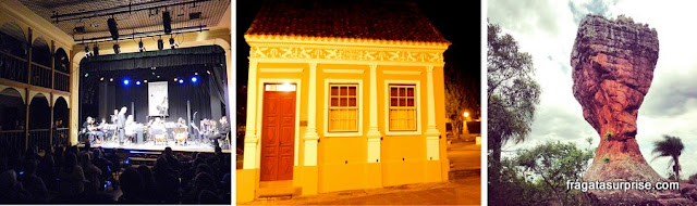 """Paraná Jazz Meeting, no histórico Teatro São João, uma fachada no Centro Histórico da lapa e """"A Taça"""", formação arenítica mais conhecida do Parque Estadual de Vila Velha"""