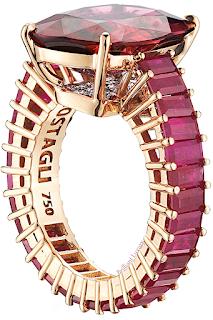 Paolo Costagli 18ct rose gold cushion-cut rubellite tourmaline eternita ring rubellite tourmaline 10.19ct rubies 5,53ct & diamonds 0.34ct #brilliantluxury