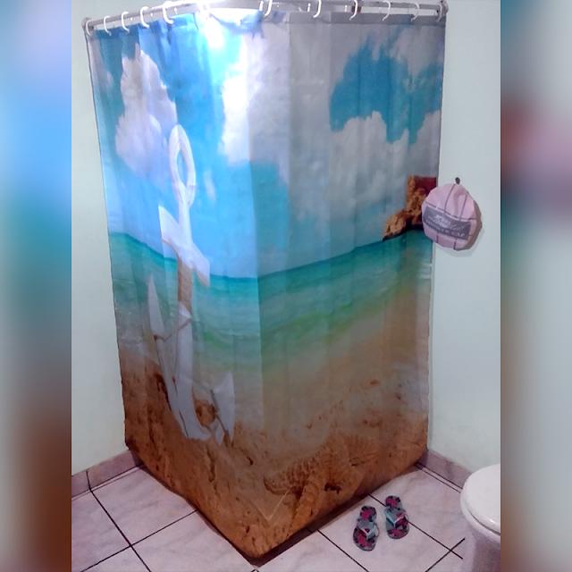 Cortina de Banheiro com Imagem de Praia