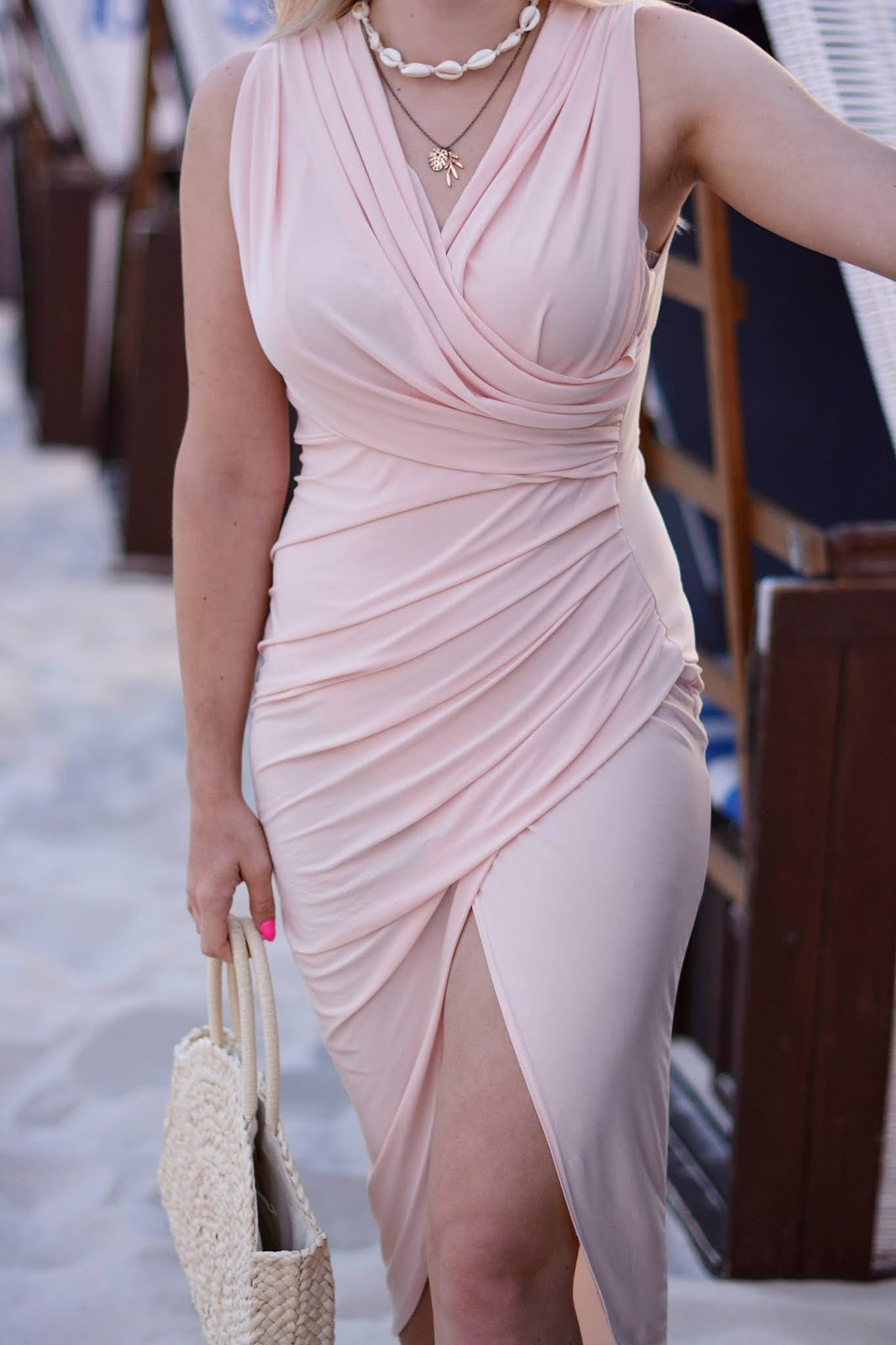 Nude Ruched Slinky Wrap Dress