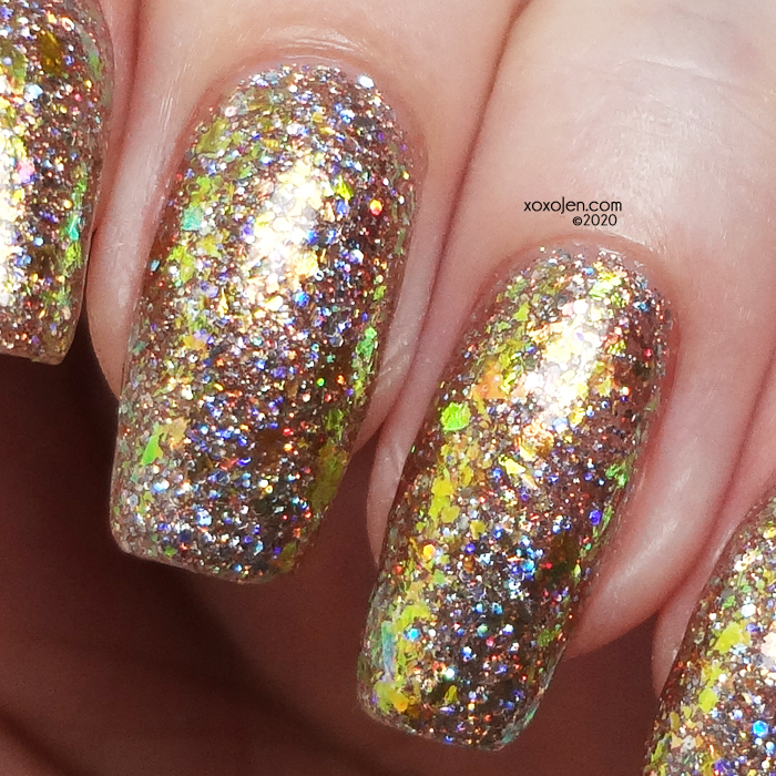 xoxoJen's swatch of KBShimmer Sol Amazing on top of Celebrate Good Shine