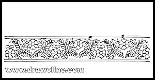 Machine embroidery flower border design sketch on tracing paper. Hand embroidery designs images free download.