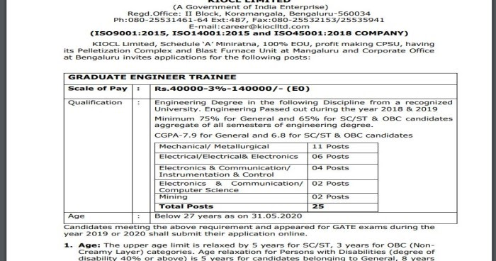 Newsfeed: KIOCL Limited Recruitment 2020