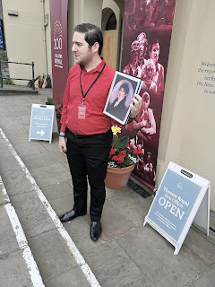 Our fantastic tour guide, outside the   Theatre Royal, Bury St Edmunds