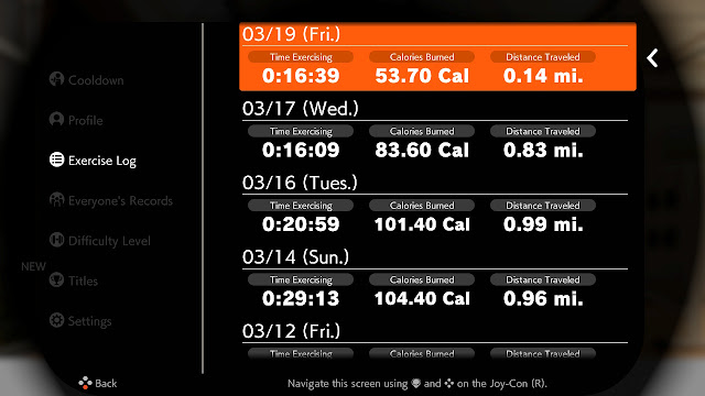 Ring Fit Adventure Week World 32 Exercise Fitness Log