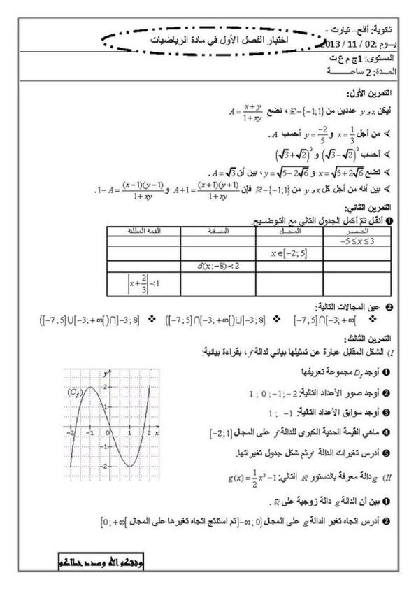 اختبار الرياضيات للسنة الأولى ثانوي الفصل الاول