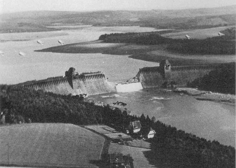 The breach in the Mohne Dam four hours after the Dambusters raid in May 1943