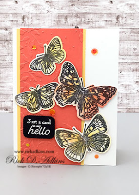 The Butterfly Brilliance and Many Messages Stamp Sets are the perfect combination for a Just A Card to say hello card.  Click here to learn more