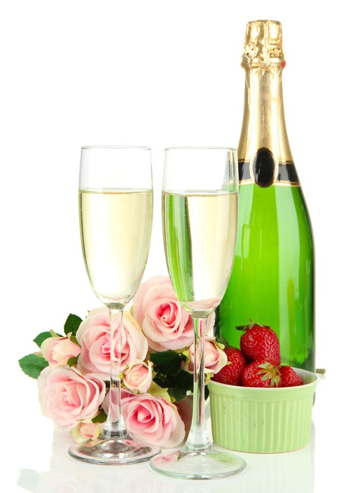 Картинки с шампанским и бокалами и цветами