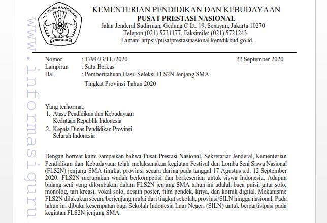 Download SE Nomor: 1794/J3/TU/2020 Tentang Pemberitahuan Hasil Seleksi FLS2N Jenjang SMA Tingkat Provinsi Tahun 2020 I pdf