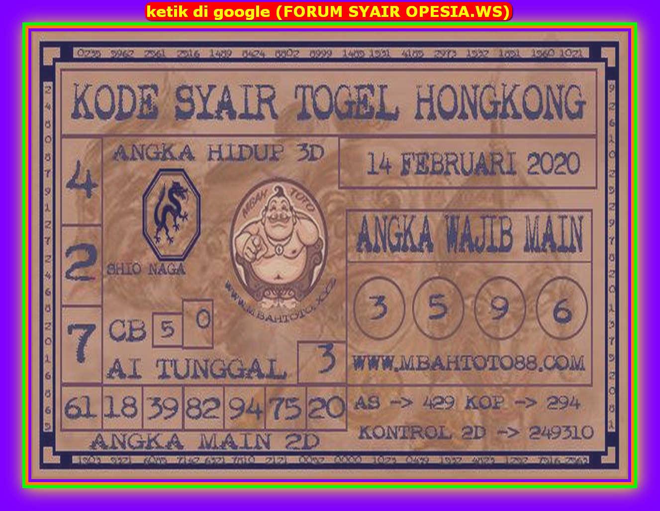 Kode syair Hongkong Jumat 14 Februari 2020 125