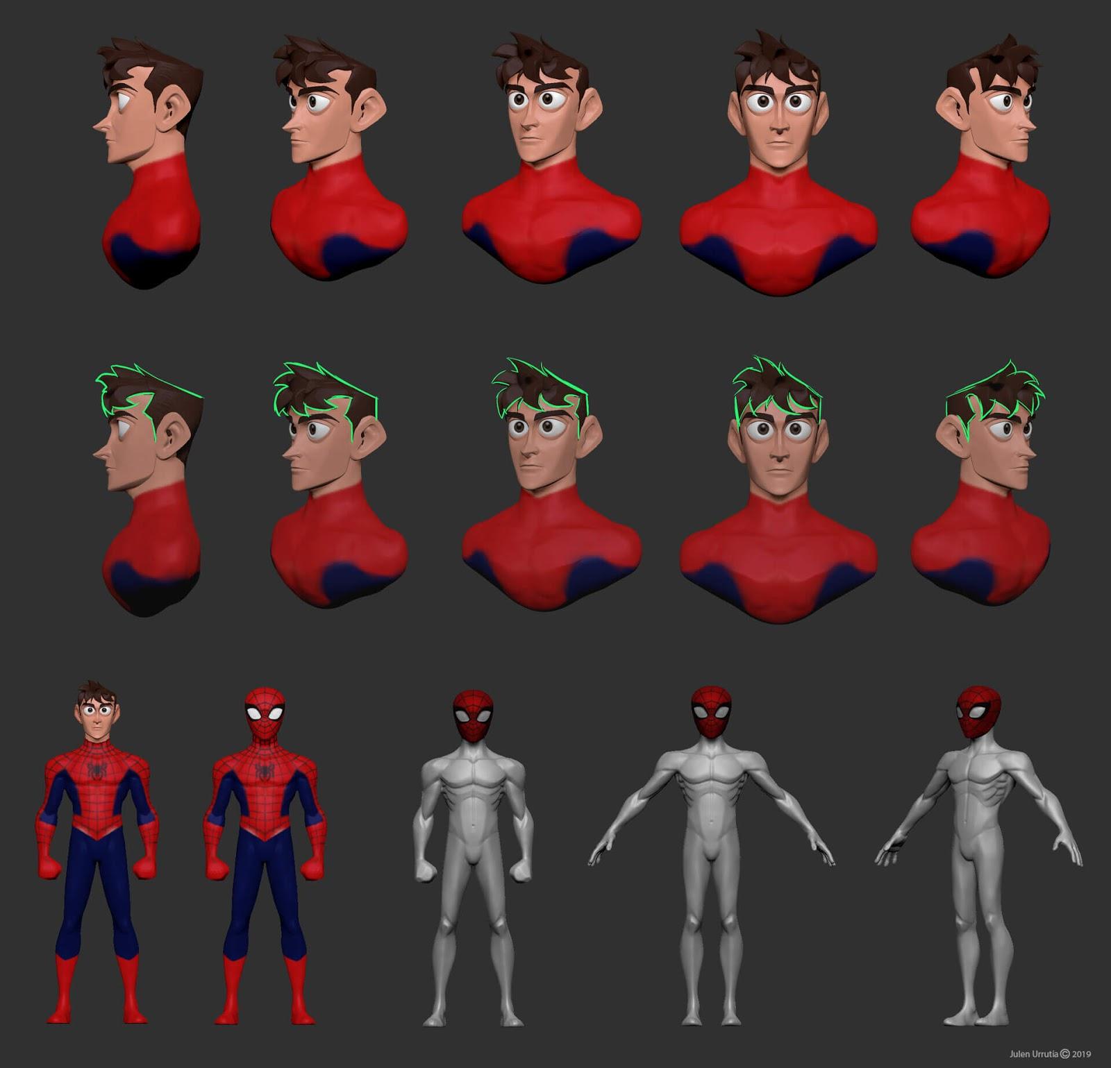 Arte do Homem-Aranha no estilo Pixar