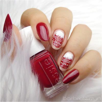 świąteczne paznokcie czerwone