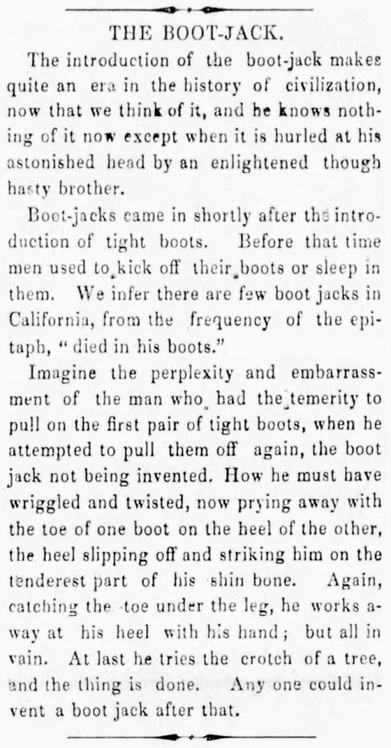 Kristin Holt | Victorian-American Boot Jacks. Introduction of the Boot Jack, how and why. North Star of Danville, Vermont on September 22, 1871.