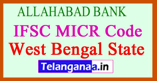 ALLAHABAD BANK IFSC MICR Code West Bengal State