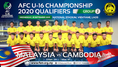Live Streaming Malaysia vs Cambodia AFC U16 Qualifiers 18.9.2019