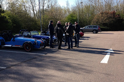 A few Sevens meeting up at the Maidstone services on the M20, ready for a few days of blatting and track action!