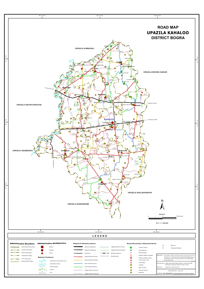 Kahaloo Upazila Road Map Bogra District Bangladesh