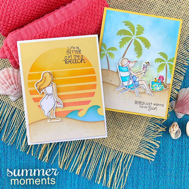 Beach cards by Jennifer Jackson | Summer Moments Stamp Set and Sun & Palms Stencil Set by Newton's Nook Designs #newtonsnook