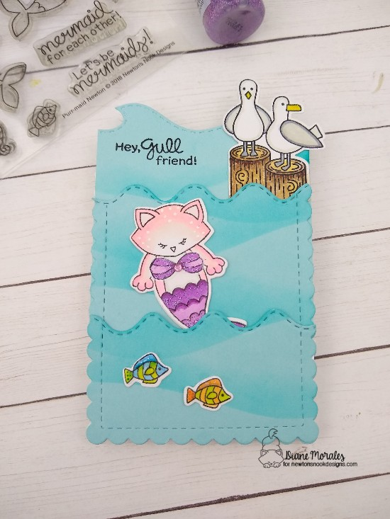 Hey gull-friend by Diane features Purr-maid Newton, Slimline Frames & Portholes, Sea Borders, Hills & Grass, and Gull Friends by Newton's Nook Designs; #newtonsnook