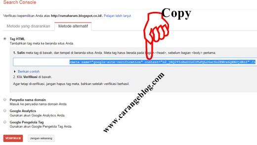 Salin meta tag/kode verifikasi Google Webmaster