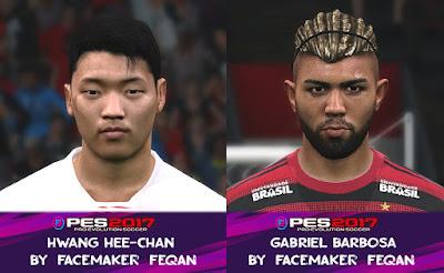 PES 2017 Facepack Hwang Hee-chan & Gabriel Barbosa by Feqan