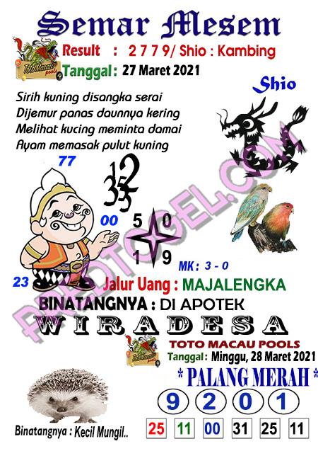 Syair Semar Mesem Toto Macau Minggu 28 Maret 2021