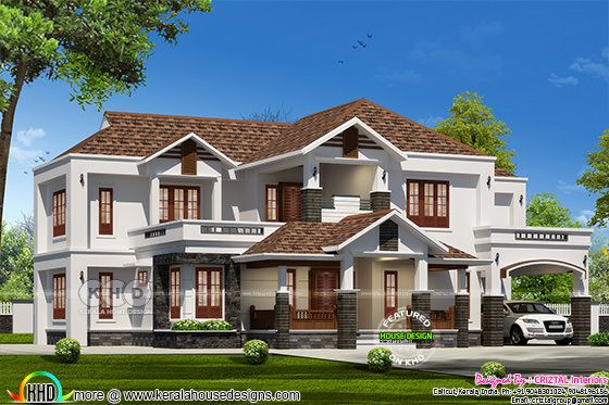 3442 sq-ft sloping roof house with 5 bedrooms