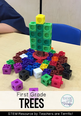 STEM Challenge for first graders! It's a cute little Christmas tree made from interlocking cubes!