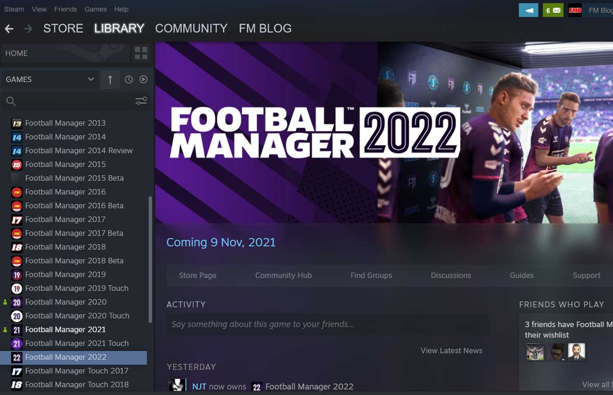 FM22 Steam Key Activated Successfully in Steam Library