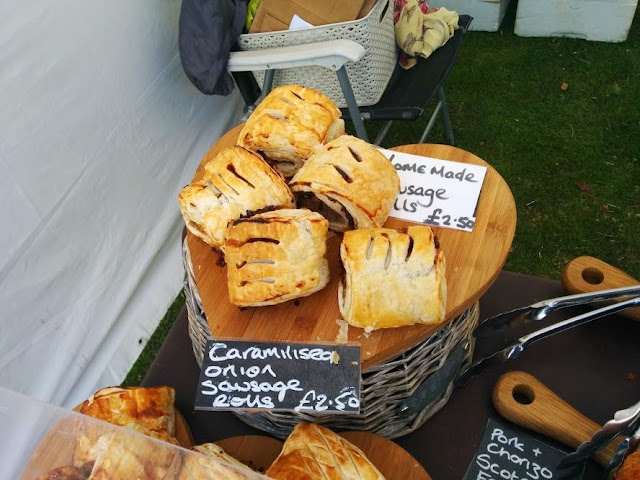 sausage rolls  at a festival market