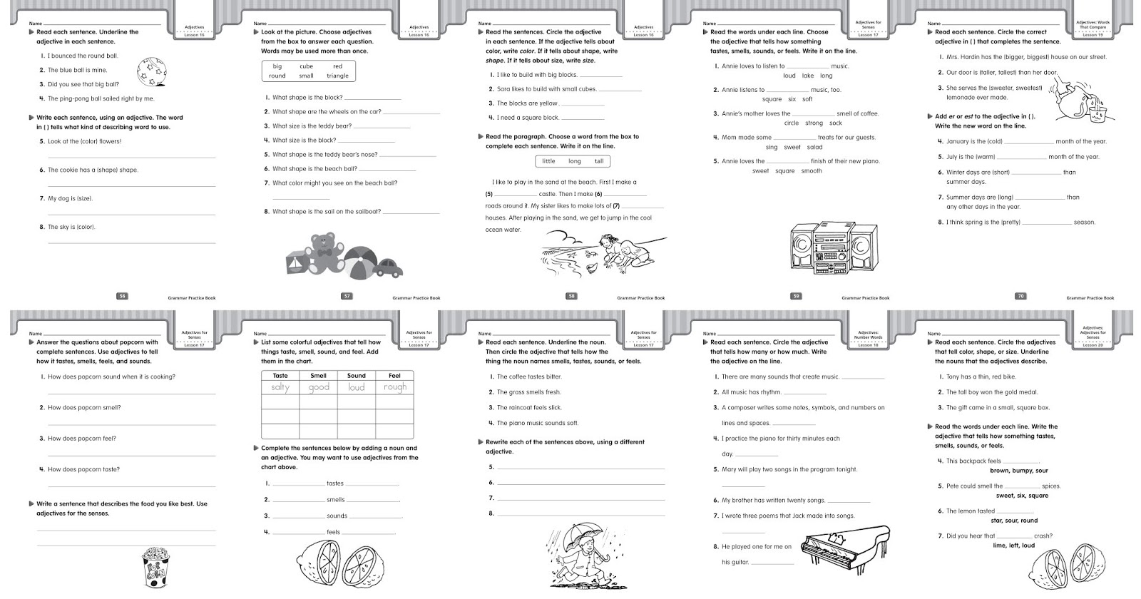 Grammar Worksheets Adjectives