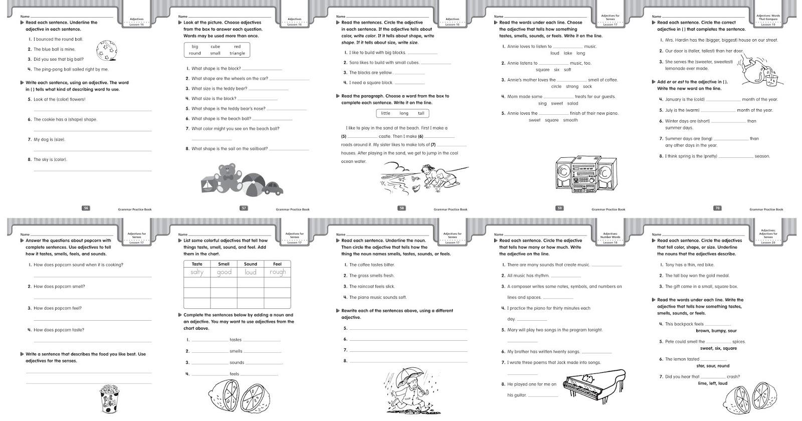 Grammar Worksheets Adjectives