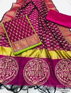 Jacquard Work Un-stitched Dress Materials