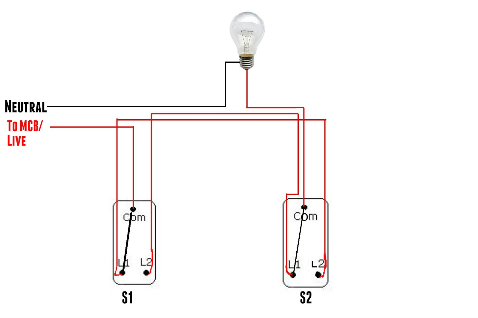 The world through electricity two way switch on two way on off switch Through the Two Way Lamp Switch 3-Way Switch Wiring Diagram