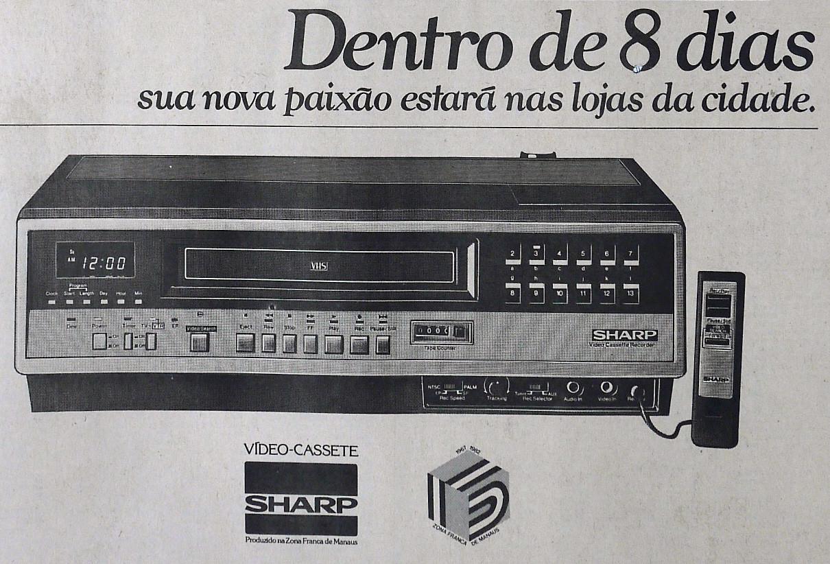 Propaganda antiga do videocassete Sharp apresentado em 1982