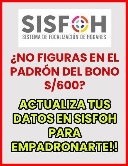 PADRÓN SISFOH: Actualiza Los DATOS De Tu Hogar Para Cobrar El BONO S/600