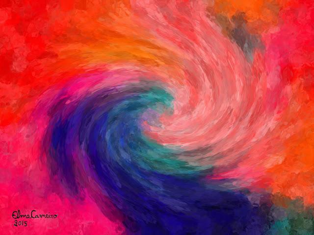 Galáxa artística super colorida - arte de Elma Carneiro