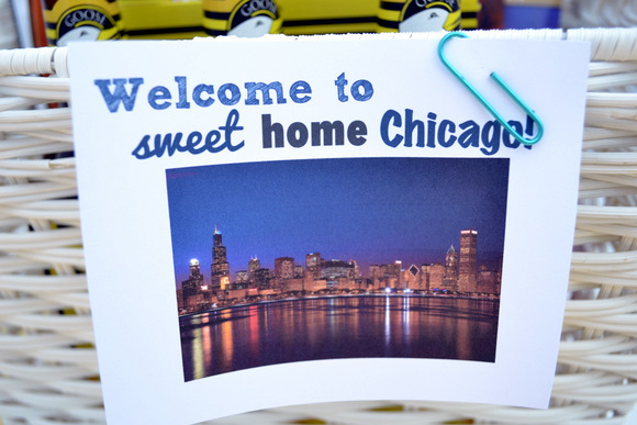"A cute ""Welcome to Sweet Home Chicago"" is the perfect way to finish off your basket."