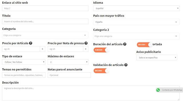añadir sitio web posts patrocinados