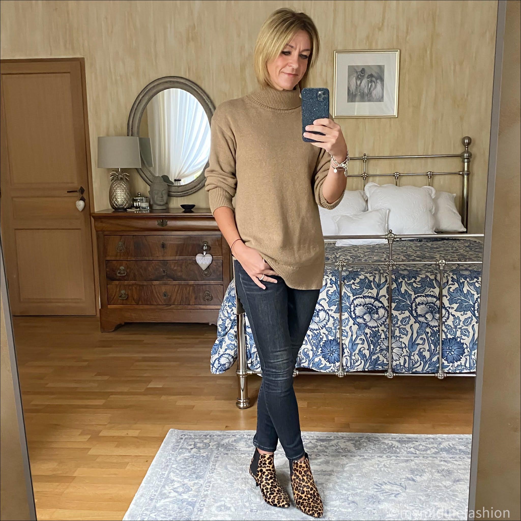 my midlife fashion, baukjen Tamara Jumper, j crew 9 inch toothpick skinny jeans, hush kitten heel leopard print boots