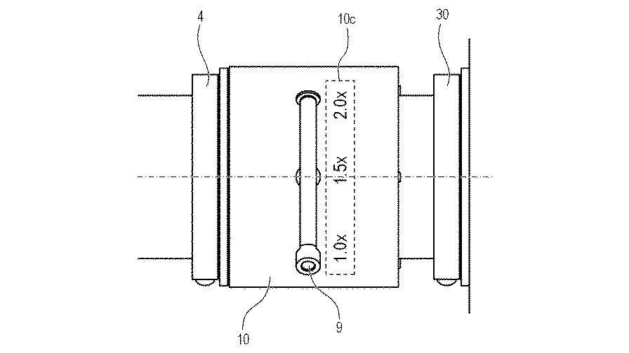 Схема телеконвертера с изменяемой степенью кратности увеличения фокусного расстояния из патента Canon
