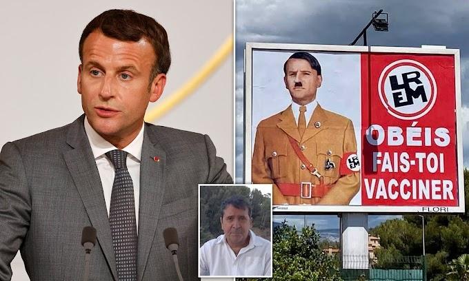 Macron bírósághoz fordult, amiért egy plakáton Hitlerként ábrázolták
