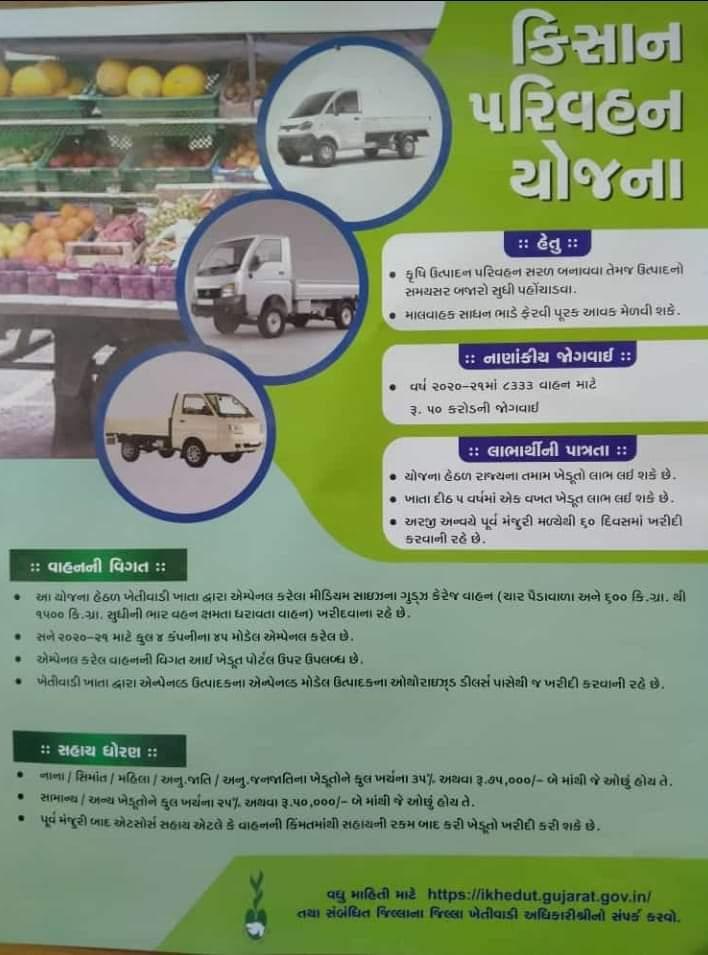 Kishan Parivahan Yojna Gujarat 2021-22