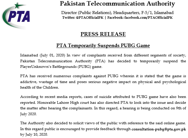 Pakistan Bans PUBG Mobile Game