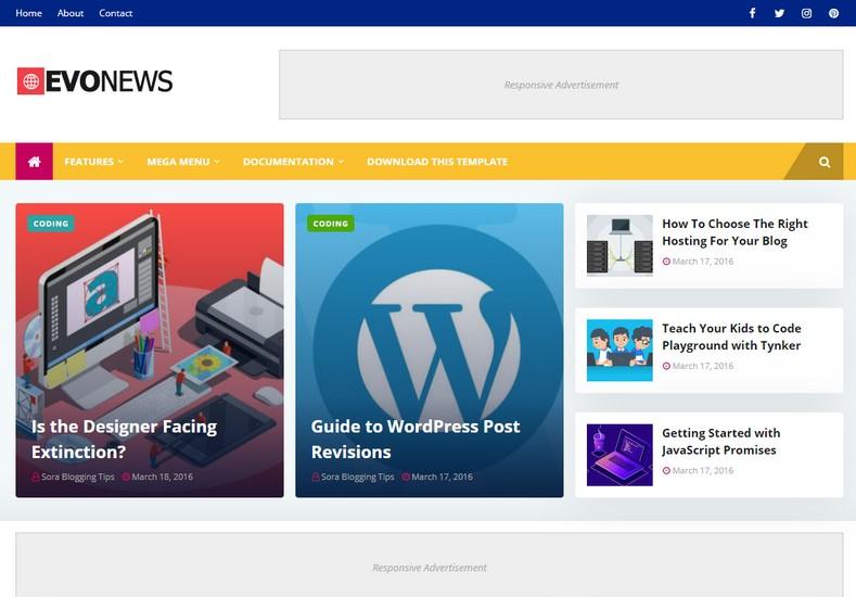 EvoNews Blogger Template