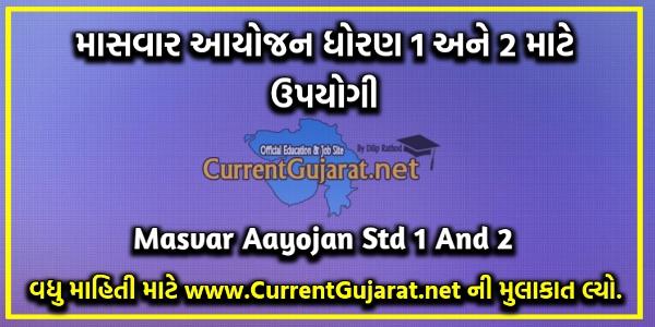 Masvar Aayojan Std 1 And 2   Std 1 And 2 Masvar Aayojan Pdf 2021-22