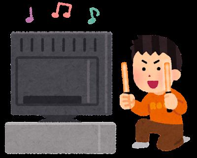 テレビでコンサートを見る人のイラスト(ペンライト・男性)